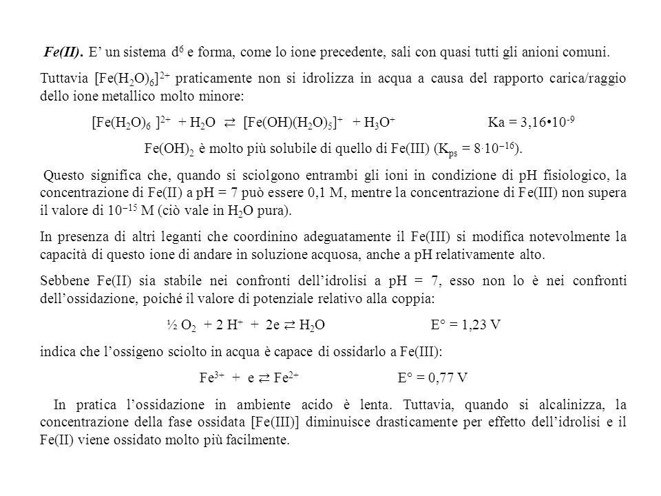[Fe(H2O)6 ]2+ + H2O ⇄ [Fe(OH)(H2O)5]+ + H3O+ Ka = 3,16•10-9